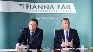 Barry Cowen (L) and Micheal McGrath at the launch of FF's pre-budget priorities