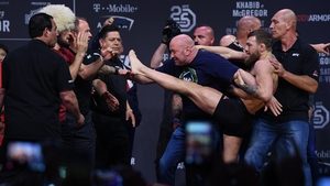 Conor McGregor, right, and Khabib Nurmagomedov