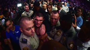 Khabib Nurmagomedov was escorted from the octagon by police in October