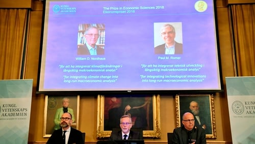 Americans William Nordhaus and Paul Romer have won the 2018 Nobel Economics Prize