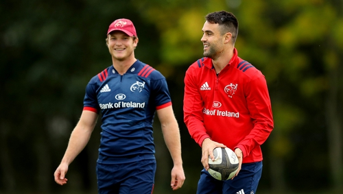 Conor Murray (R) at Munster training this week