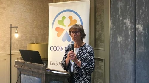 COPE Galway CEO Jacquie Horan speaking at today's event