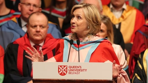 Hillary Clinton received the honour at Queen's University Belfast today