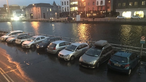 Flooding along Fr Mathew Quay in Cork during high tide this evening