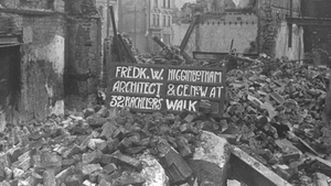 A sign for architect and civil engineer Frederick Higginbotham in the Sackville Street rubble after the 1916 Rising. Sackvi