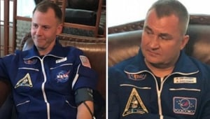 Nick Hague (L) and Alexei Ovchinin were rescued safely (Pic: @roscosmos)