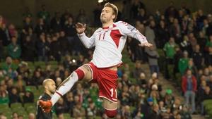 Nicklas Bendtner scored at the Aviva Stadium a year ago