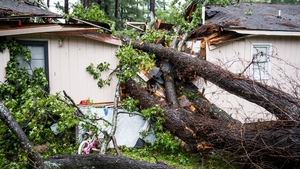 A fallen tree rests on a house after remnants of Hurricane Michael passed through