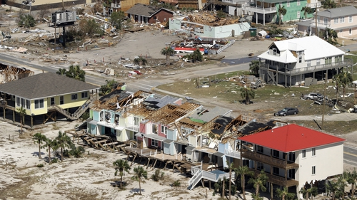 Homes destroyed by Hurricane Michael in Mexico Beach, Florida
