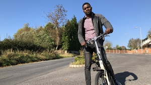 Archie Sita was given a foldable bike to help him with his commute from Monaghan to Dundalk IT