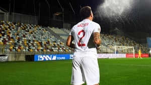 Kyle Walker takes a throw-in at a deserted  Stadion HNK Rijeka
