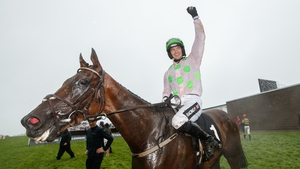 Patrick Mullins partnered Sharjah to victory in the Galway Hurdle