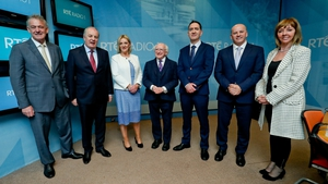 Peter Casey, Gavin Duffy, Liadh Ní Riada, Michael D Higgins, Seán Gallagher and Joan Freeman with presenter Cormac Ó hEadhra