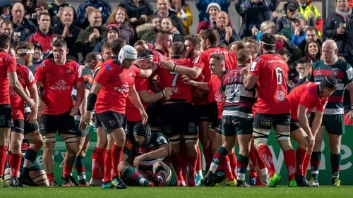 Ulster players celebrate Alan O'Connor's try against Leicester Tigers