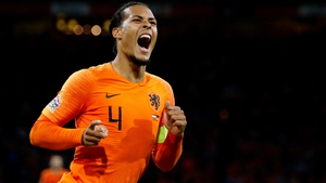 Virgil van Dijk celebrates his goal