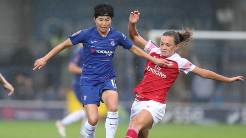 Katie McCabe came on in the second half for Arsenal.