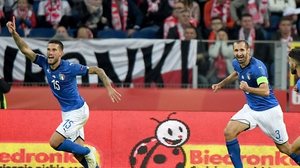 Cristiano Biraghi scoring the winner against Poland in stoppage time