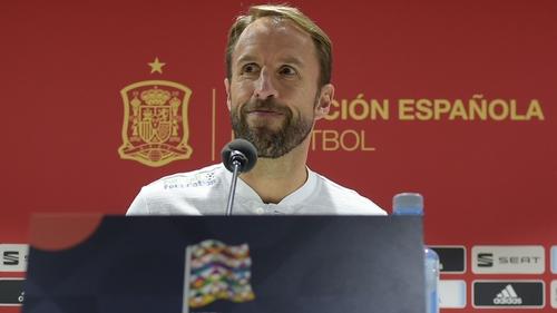 The England boss addressing media in Spain