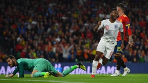 Raheem Sterling scored twice as England shot into a three goal half-time lead against Spain