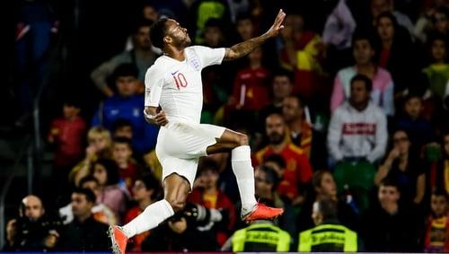 Raheem Sterling of England celebrates his goal against Spain