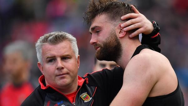 Rochford comforts Mayo's Aidan O'Shea after 2017 All-Ireland final defeat