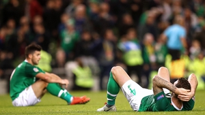 Ireland players dejected at full-time
