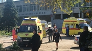 The site of the attack at a college in the Crimean city of Kerch