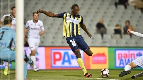 Bolt in action for the Central Coast Mariners
