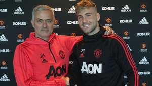 Luke Shaw (R) and Jose Mourinho appear to have mended their differences