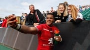 Toulouse's South African winger Cheslin Kolbe takes a selfie after victory over Bath last weekend in the Heineken Champions Cup