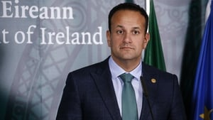 Taoiseach Leo Varadkar speaking at the EU summit in Brussels today