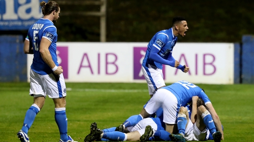 Finn Harps players celebrate John Kavangh's first-half goal