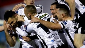 Patrick Hoban celebrates his second goal with Dundalk teammates