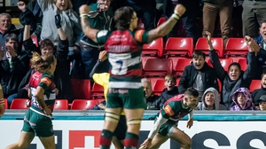 Jonny May crosses for Leicester Tigers