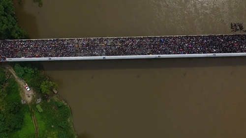 Aerial view of the migrant caravan heading to the US