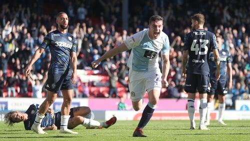 Blackburn Rovers Darragh Lenihan powers home the winner against Leeds United