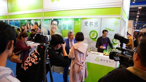 Minister John Halligan being interviewed at the Education Fair in Beijing