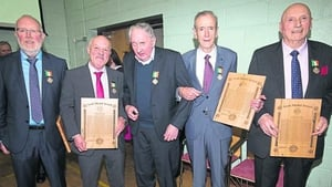 Tom Peters (C) seen with L-R Gerry Bohan, Peter Clerkin representing Michael Clerkin, Ben Thornton and Jim Cannon