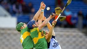Clonoulty-Rossmore's John O'Keeffe, Ciaran Quirke and Nenagh Éire Óg's Philip Hickey battle for the sliotar