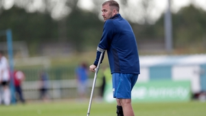 Reynolds on crutches following an attack earlier in the year