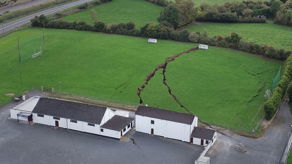 How ground subsidence affected the Magheracloone Mitchells GAA club in Co Monaghan in 2018
