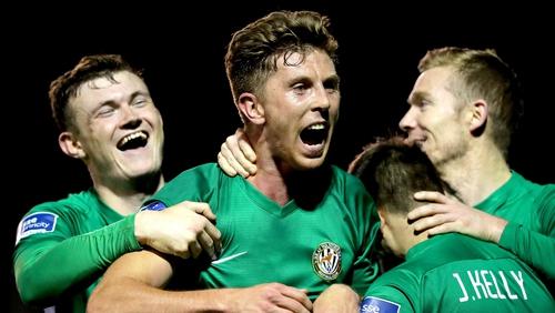 Bray's John Sullivan celebrates scoring a late goal