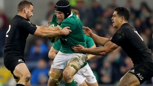 Sean O'Brien in action against New Zealand in Dublin in 2016