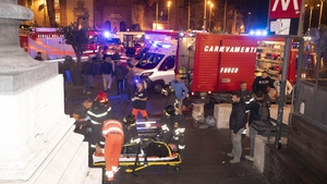 At least 20 were injured in the incident, which occurred as fans made their way into tonight's Champions League game