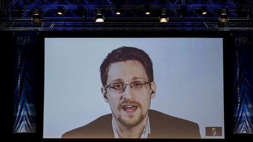 Edward Snowden issued his surveillance warning via video link from Moscow