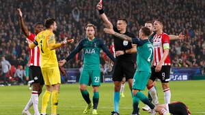 Hugo Lloris is given his marching orders