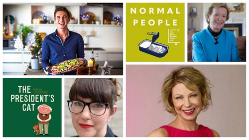 Nominees for this year's An Post Irish Book Awards include (Top, L to R) Donal Skehan, Sally Rooney and Mary Robinson, and (Bottom, L to R) Peter Donnelly, Emeile Pine and  and Emma Hannigan