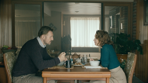 Liam Neeson and Lesley Manville as Tom and Joan in Normal People
