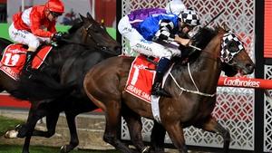 Hugh Bowman riding Brave Smash (R) defeats Oisin Murphy and Spirit of Valor