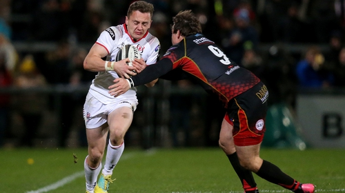 Michael Lowry looks to get past Rhodri Williams